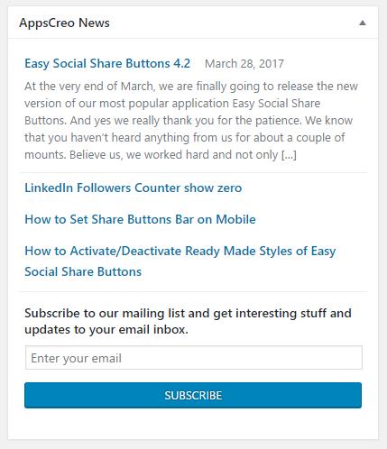 How to remove admin dashboard widget AppsCreo News 2