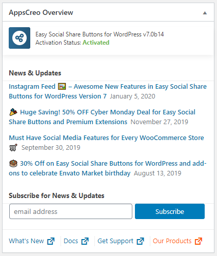 How to Remove Admin Dashboard Widget AppsCreo Overview (News)? 1