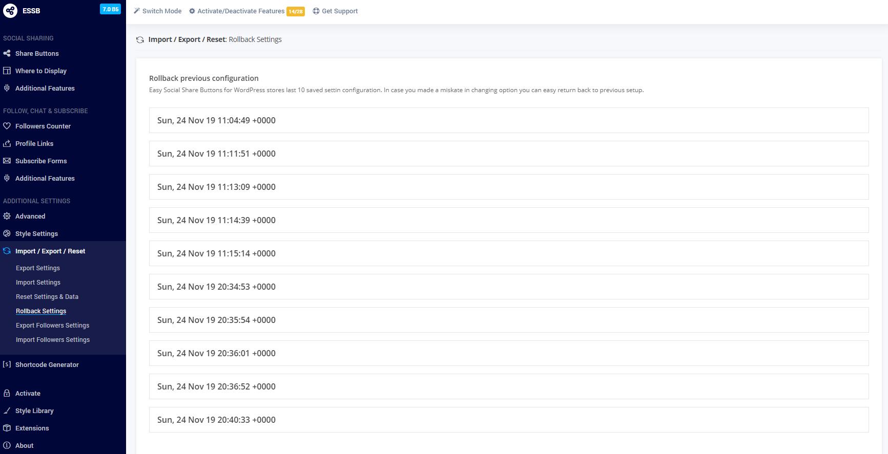 Import/Export Plugin Settings, Reset Plugin Settings or Data 2