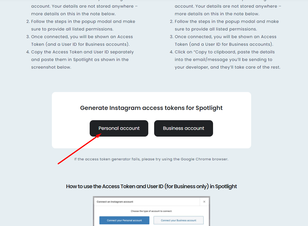 How to get an Instagram token for showing feed on your website? 1
